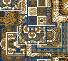 Versace 4 Home Wallpaper 370481 Ornament blau gold metallic Tapete Vliestapete