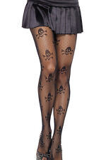 FishNet Black Skull Detail Tights Goth Pirate Halloween Fancy Dress Party