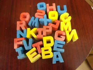 Vtg Antique Mattel Kids Toy Tuff Stuff Plastic Alphabet Letters ABC Blocks Blue