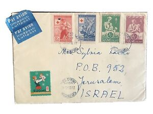 Finland 1946 Red Cross & 1950 stamps on envelope to Israel