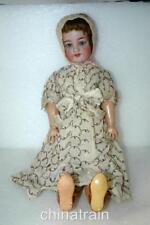 "Vintage Antique Simon Halbig 21"" Bisque Ceramic & Composite Doll & Clothes"