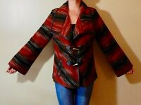 TRIBAL Size L Red Wool Blend Jacket Faux Leather Trim Toggle Button Front EUC