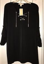 NWT Michael Kors Plus Size 1X Roll‑Tab‑Sleeve Chain Lace Up Knit Top