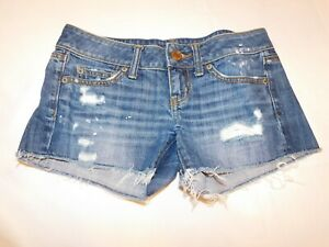 """American Eagle """"Destroyed"""" Junior's Women's Shorts Size 0 short shorts Blue GUC"""