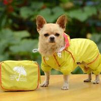 Small Pet Dog Hoody Rain Coat Waterproof Clothes Slicker Jumpsuit Puppy Raincoat