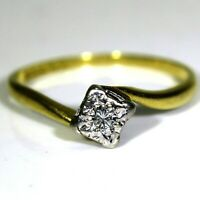 Late Art Deco 18ct Yellow Gold Platinum Diamond Solitaire Bypass Ring O ~ 7 1/4