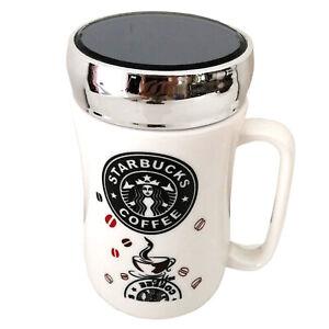 NEW STARBUCKS TRAVEL MUG CERAMIC COFFEE TEA CUP LID WORK HOT COLD DRINKS UK