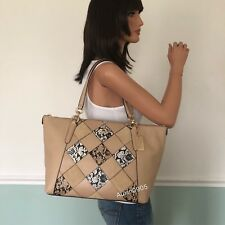 NEW! COACH Leather Patchwork Zip Tote Shoulder Bag Purse in Beechwood Multi