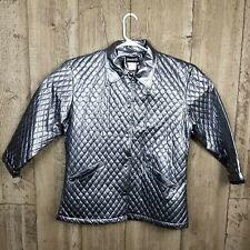 Women's Shedrain Gray/Silver shiny Vinyl  Jacket Medium/Large Rain Coat