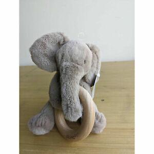 Jellycat Shooshu Elephant Wooden Ring Toy 14cm- Plush Stuffed Animal Soft Toy