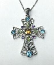 Ornate Sterling Silver Citrine Topaz Amethyst Gemstone Cross Pendant Necklace