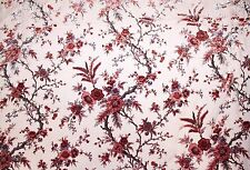"100% PURE SILK VELVET BURNOUT PINK FLOWERS FABRIC 45"" WIDE BY THE YARD"