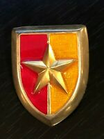 Vintage Collectible Red Gold Tone Crest W/Star Metal Pinback Lapel Pin Hat Pin