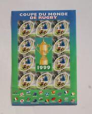 FEUILLE DE 10 timbres FRANCE99 sport rugby coupe du monde