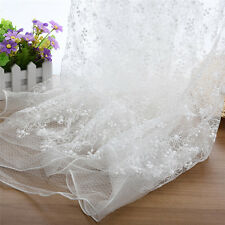 White Floral Flower Embroidery Lace Fabric DIY Banquet Wedding Bridal Veil 2Yard
