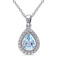 """Sterling Silver Blue Topaz and Created White Sapphire Pendant Necklace 18"""""""