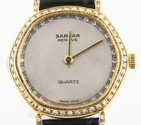 Sarcar Vintage 14k Yellow Gold & Diamond Swiss Quartz Watch w/ Leather Band
