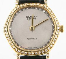 Sarcar Vintage 14k Yellow Gold & Diamond Swiss Quartz Watch w/ Leather Band