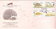 ZIMBABWE, 1998 LESSER KNOWN ANIMALS OF ZIMBABWE, SG 960-963,  ON ILLUSTRATED FDC