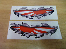 """Torn / Ripped Paintwork japanese """"Rising Sun"""" flag stickers - 190mm decal pair"""