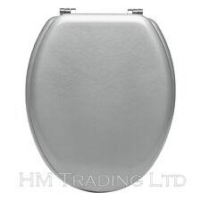 """18 """"IN LEGNO MDF Sedile WC argento legno Coperchio Coperchio universale dimensioni standard"""