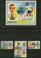 LESOTHO 1990 ITALY FOOTBALL WORLD CUP SET 4 STAMPS & MINIATURE SHEET MNH (a)