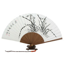Folding White Paper Chinese Ink Black Orchid Painting Bamboo Hand Held Art Fan