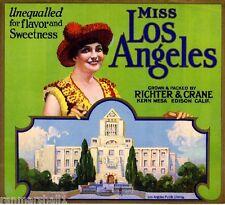 Edison Kern Mesa Miss Los Angeles Library Orange Citrus Fruti Crate Label Print