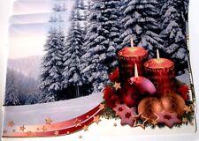 3 Platzdeckchen abwaschbar Platzset Platzdecke Tischset Weihnachten Kerze