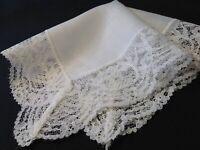 #4722🌟Vintage WIDE LACE Wedding Handkerchief Heirloom