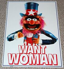 The Muppets ANIMAL Want Woman Uncle Sam Poster 1982 Scandecor Electric Mayhem