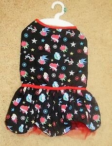"""Black Dog Dress Red Tulle Heart Rose """"Lady Luck"""" LARGE L"""