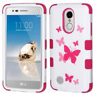 For LG ARISTO / LV3 MS210 - Hard & Soft Hybrid Armor Phone Case Pink Butterfly