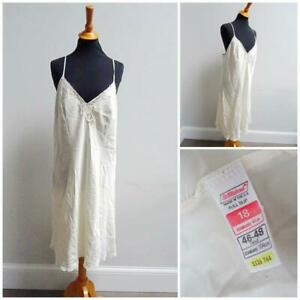 Vintage Full Slip Petticoat 1980s St Michael Ivory Polyester Lace Ladies Size 18