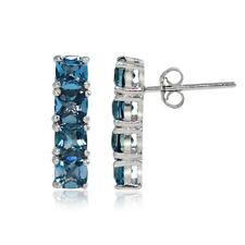 Sterling Silver London Blue Topaz Bar Drop Earrings