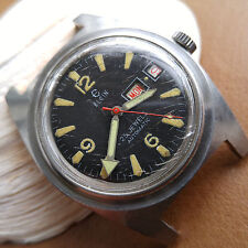 Vintage Elgin Day-Date Divers Watch w/Patina,SS Case,Missing Bezel FOR REPAIR