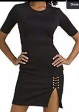Kim Kardashian Kollection Black Sheath Dress w Gold Chain XS Small Thigh Slit