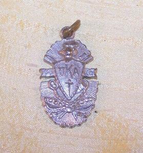 """VINTAGE Pi Kappa Alpha fraternity large silver crest pendant, 1 5/16"""" PIKE OLD"""