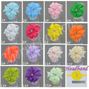 Baby Girls Clip Bow Soft Head Elastic Band Headband Flower kids Bow size 3.6""