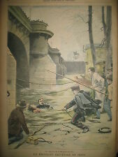 AGENTS BRIGADE FLUVIALE SEINE ECOLIER OBOLE BOËRS JOURNAL LE PETIT PARISIEN 1902