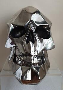 GEOMETRIC SKULL Chromed effect finish by Nemesis Now gothic gift