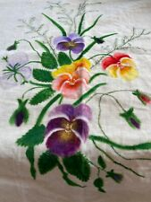Antique 19th century Handpainted Theorem on velvet Purple Pansies Fern Folk Art