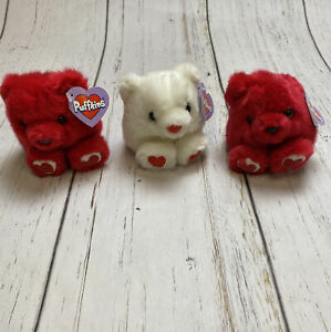 Vintage Puffkins Valentines Lot of 3 Plush Beanie RED White Bruno Hugs Kisses