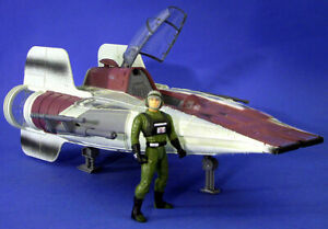 STAR WARS POTF DELUXE LOOSE RARE A-WING FIGHTER VEHICLE & PILOT MINT CONDITION.