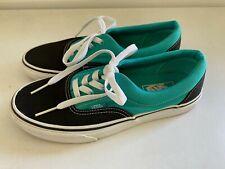 Vans Era Black Aqua Sneakers Men 6 Women 7.5 Skate Shoes Turquoise Skateboard
