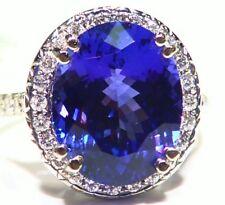 10.28ct 14k oro naturale AAAA TANZANITE Anello di fidanzamento Diamanti Bianchi