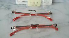 GENTS  RIMLESS  GLASSES  VEK 76   53/18 RED /GUNMETAL   NEW  2 FRAMES