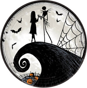 NIGHTMARE BEFORE CHRISTMAS Halloween Party lunch/dinner PAPER PLATES 9 inches