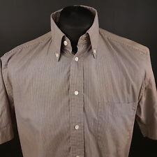 Daniel Hechter Mens Shirt 40 (MEDIUM) Short Sleeve Brown Regular Fit Striped