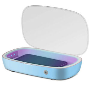 SAMFIWI Cell Phone Sanitizer with Wireless Charging, Upgrade blue